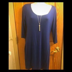 New Blue 3/4 sleeve mini dress, open back Sz L